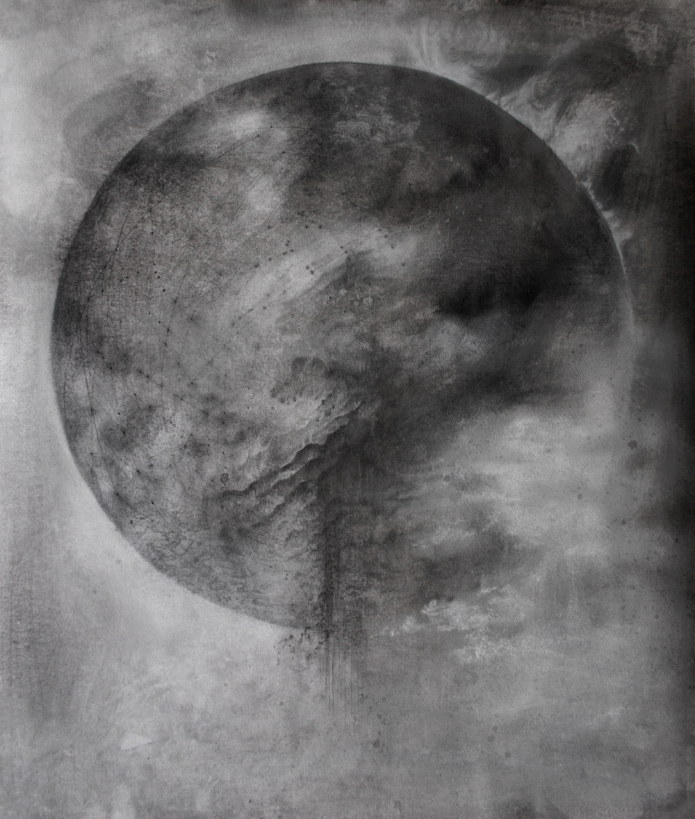 False Moon . 14 x 16 ink and pencil on paper